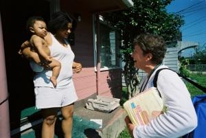 NFP nurses visit moms once a week in their homes.