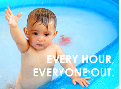 It's just a good idea. Everyone can go to the bathroom, get their diapers changed, reapply sunscreen, and take a break. This keeps the pool cleaner and everyone safer.