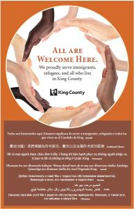 All are Welcome sign for posting in King County locations