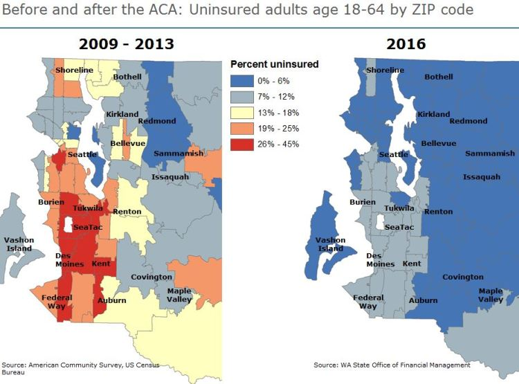 The number of uninsured residents of King County has fallen by more than 50% since embracing the ACA, benefitting every neighborhood of the county