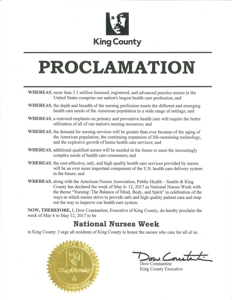 Proclamation of National Nurses Week in King County