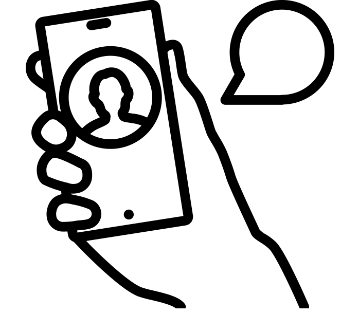 Cell phone in hand icon
